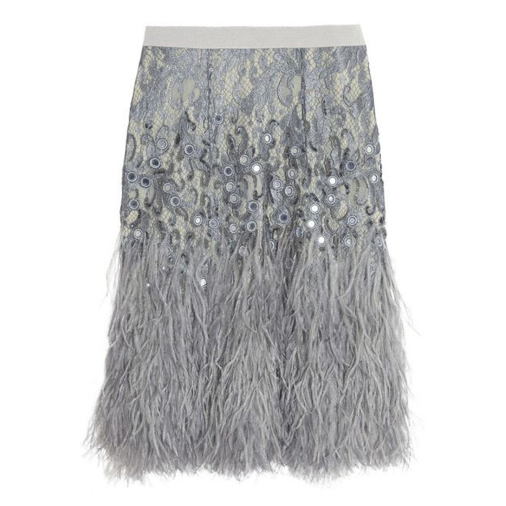 Matthew Williamson Feather-Trimmed Embellished Lace Skirt
