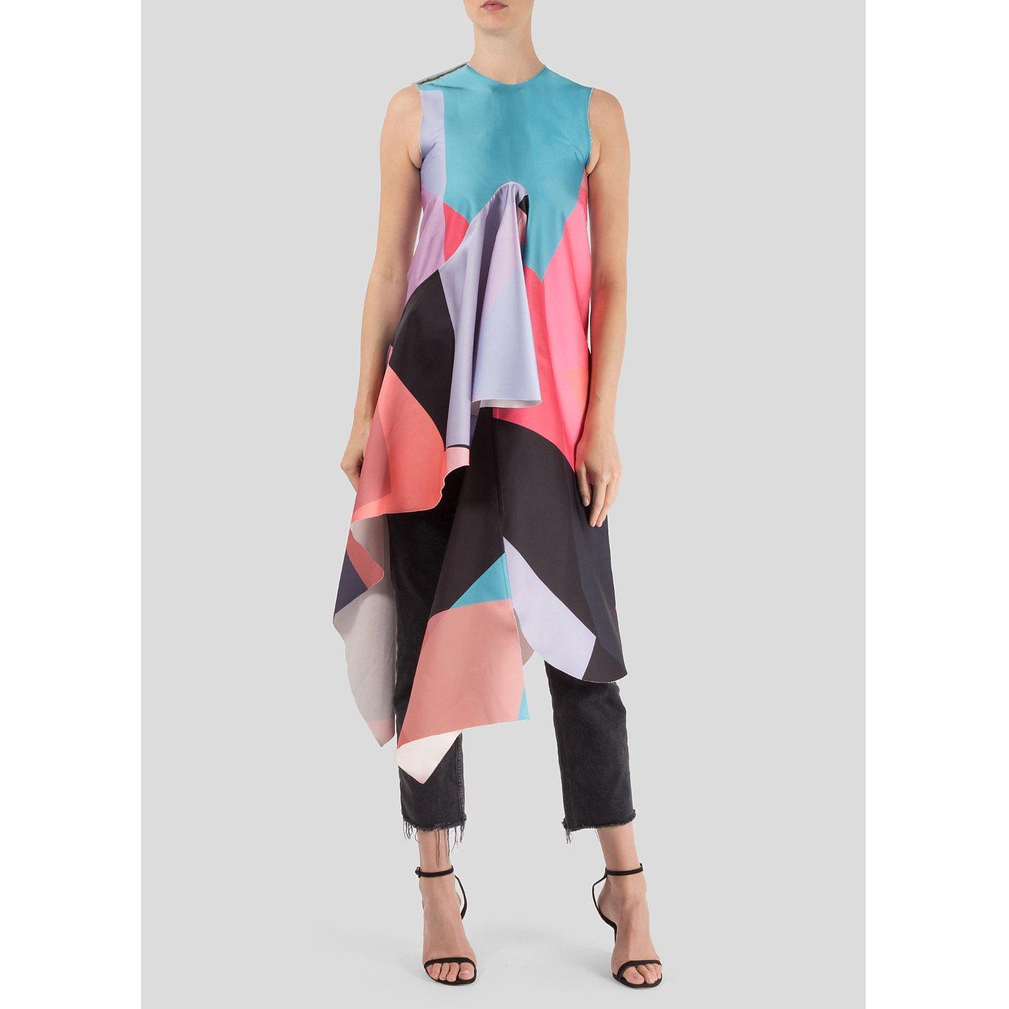 Minnanhui Geometric Draped Silk Dress