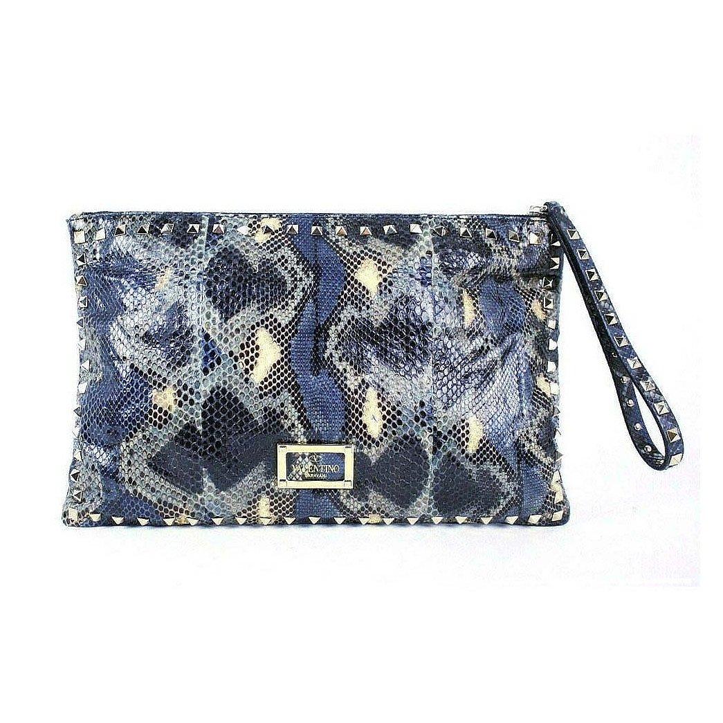 Valentino Python Skin Rockstud Clutch Bag