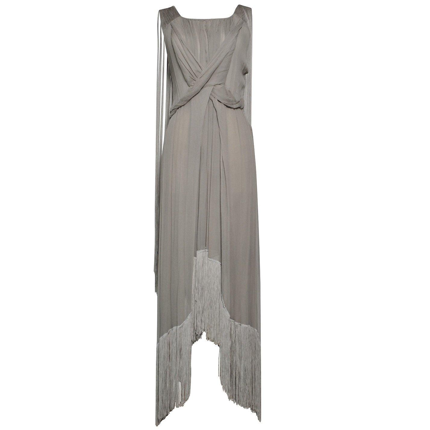 Alberta Ferretti Draped Fringed Dress