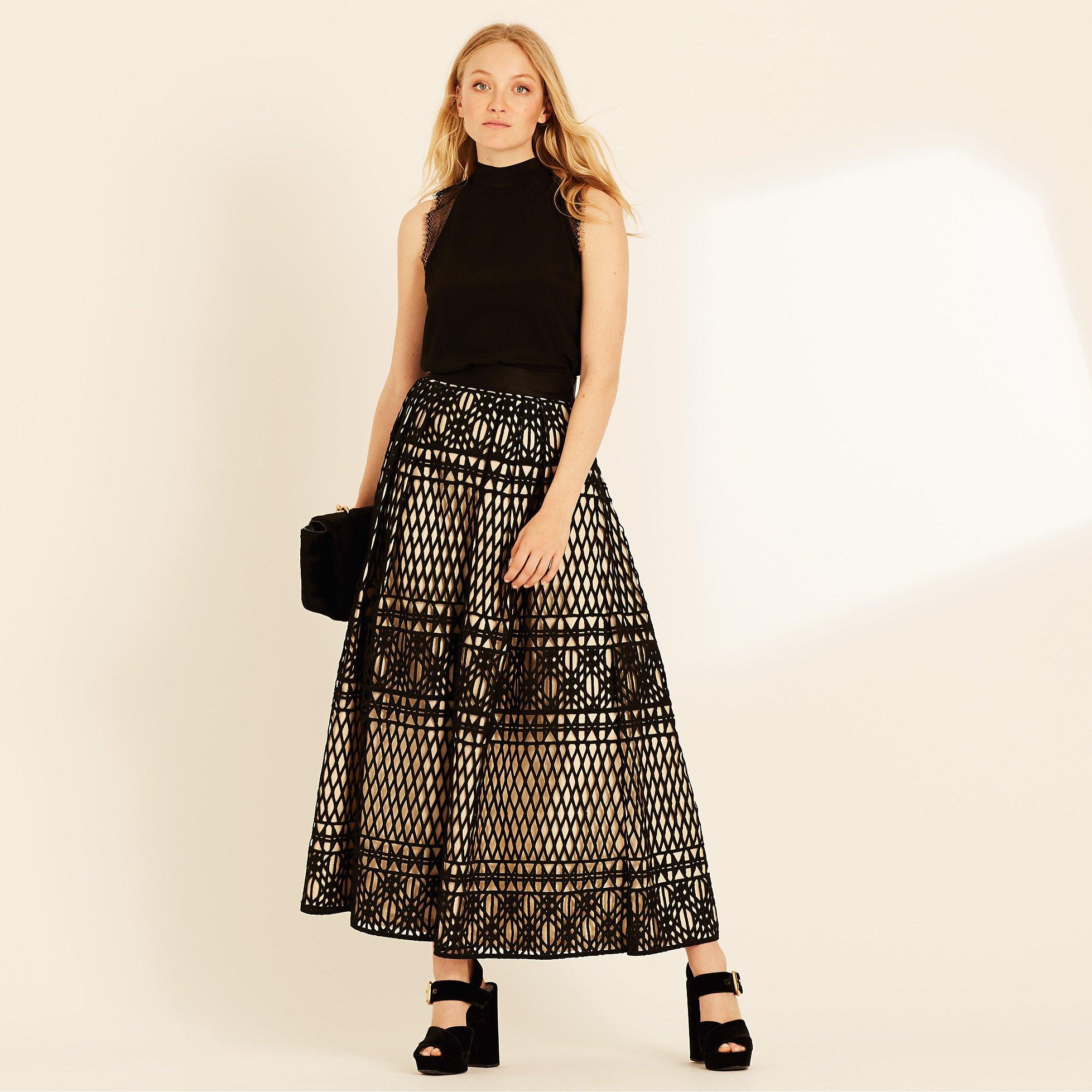 Amanda Wakeley Long Graphic Guipure Skirt