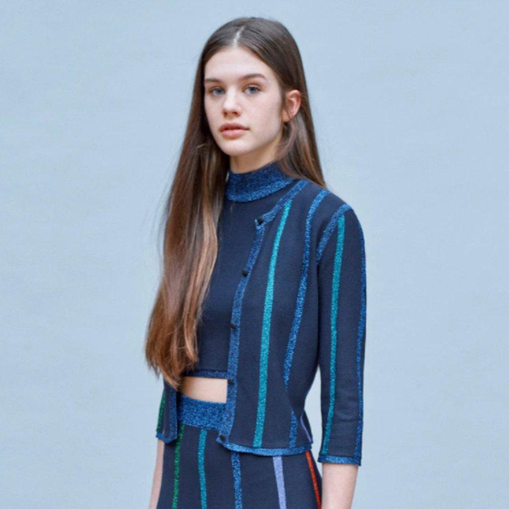 Dhela Metallic-Trimmed Sleeveless Knit Crop Top