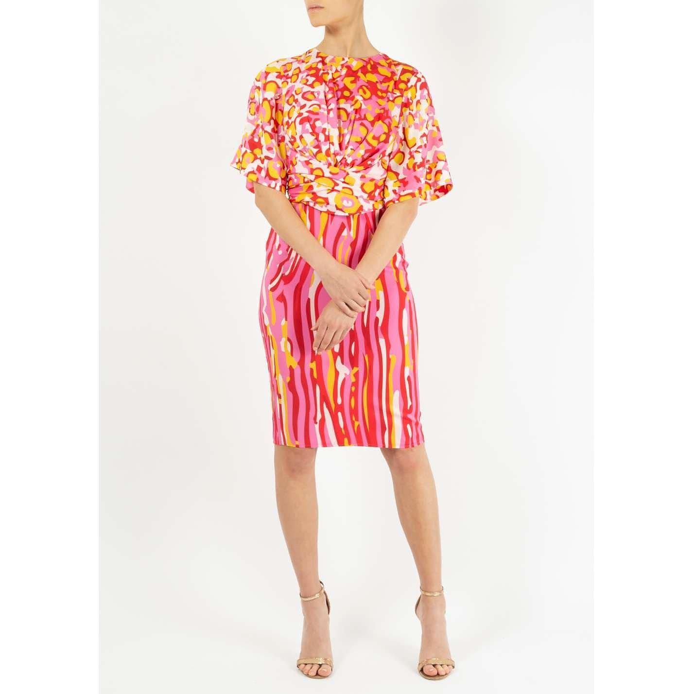 Dhela Printed Midi Dress With Waist Tie Detail