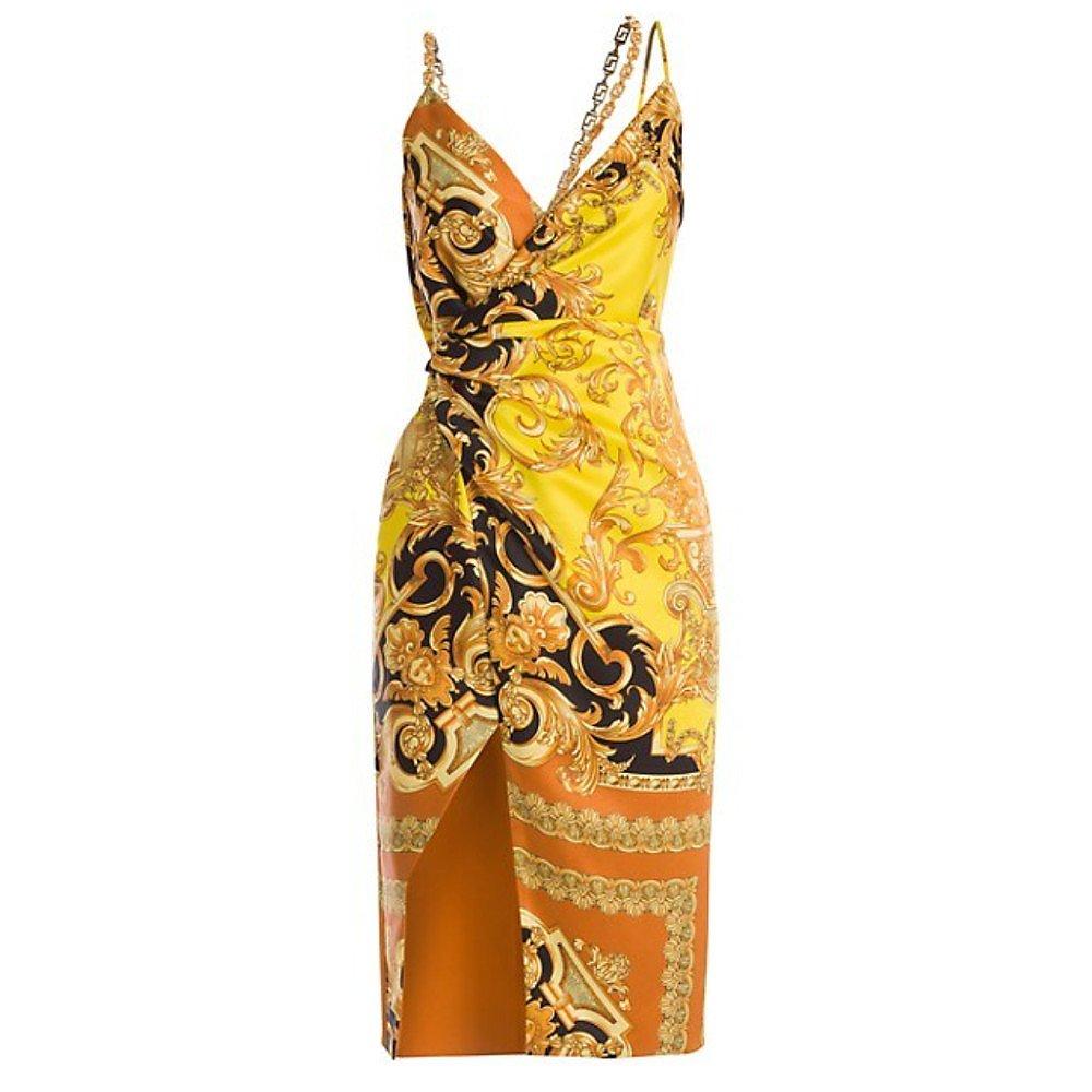Versace Femme Baroque Printed Silk Wrap Dress