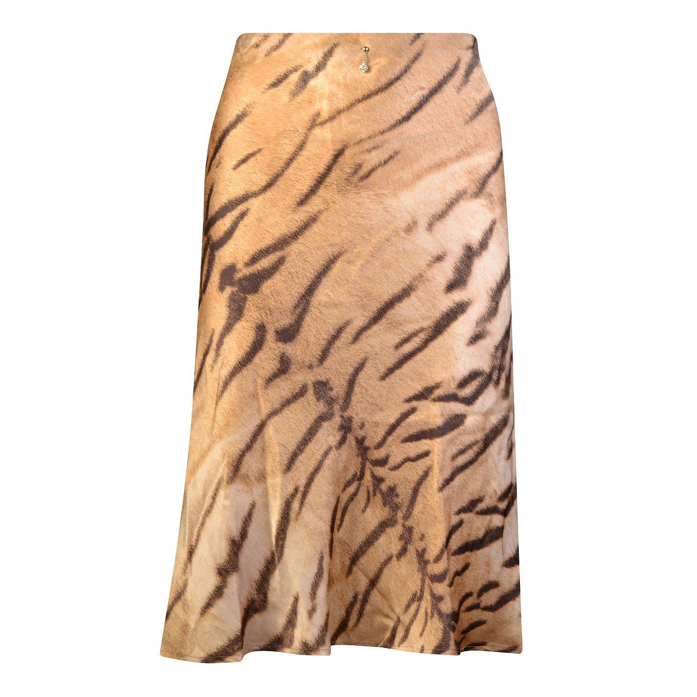Roberto Cavalli Silk Animal Print Skirt