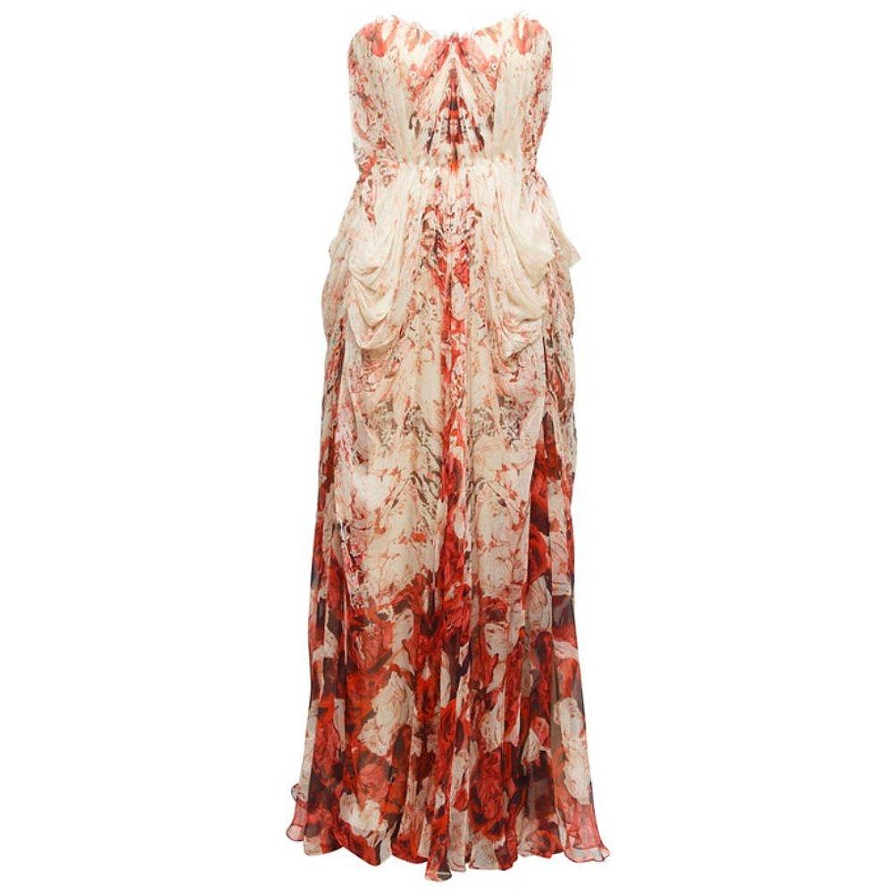 Alexander McQueen Strapless Silk Rose Gown