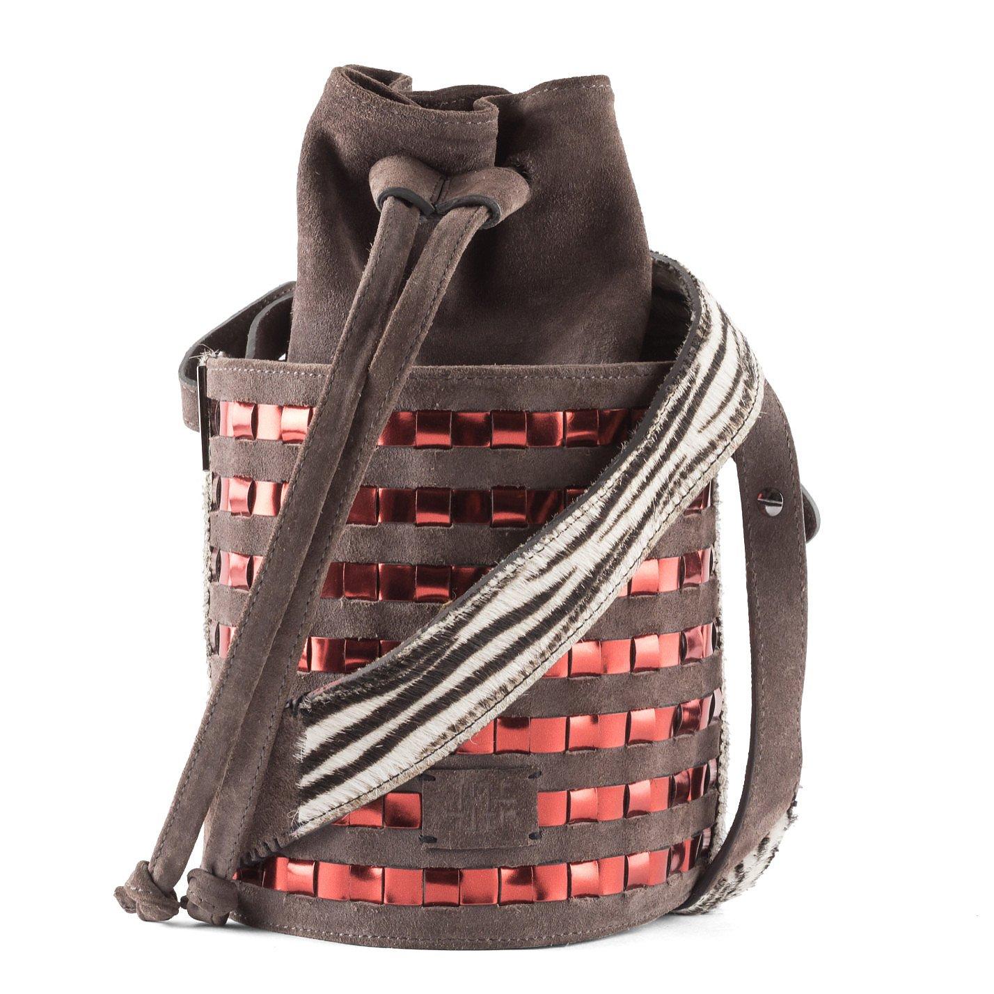 Carolina Wong Simone Woven Bucket Bag with Zebra Detail
