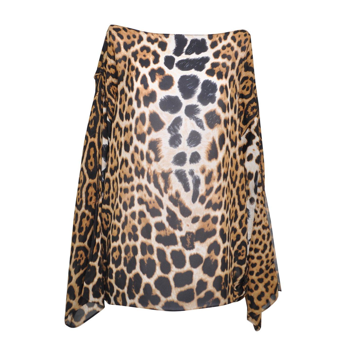 Yves Saint Laurent Leopard Print Chiffon Blouse