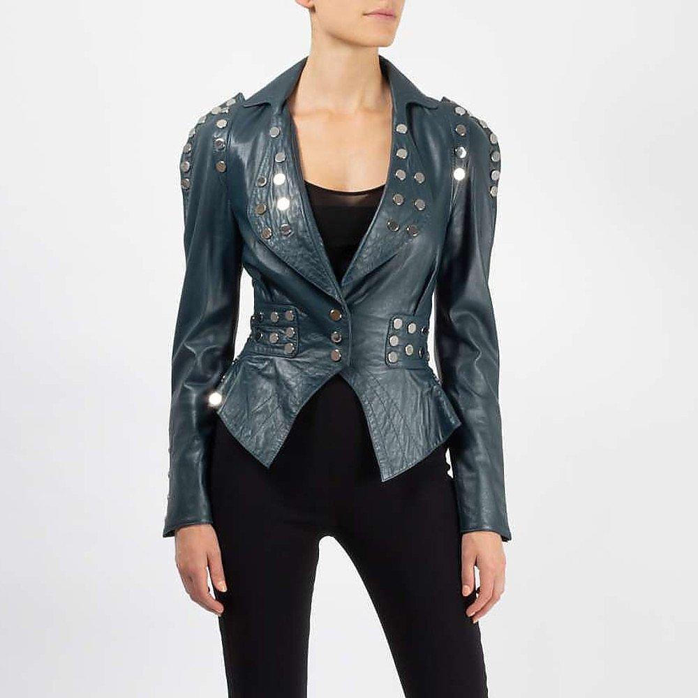 Temperley London Studded Leather Biker Jacket