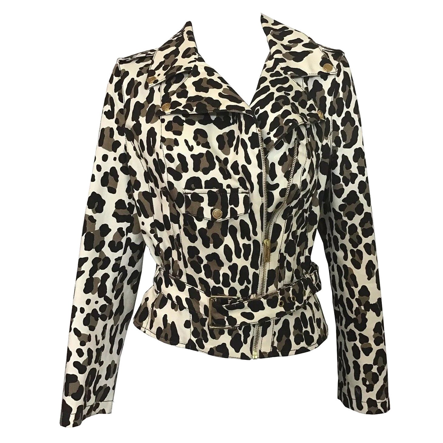 Blumarine Leopard Print Motorcycle Jacket