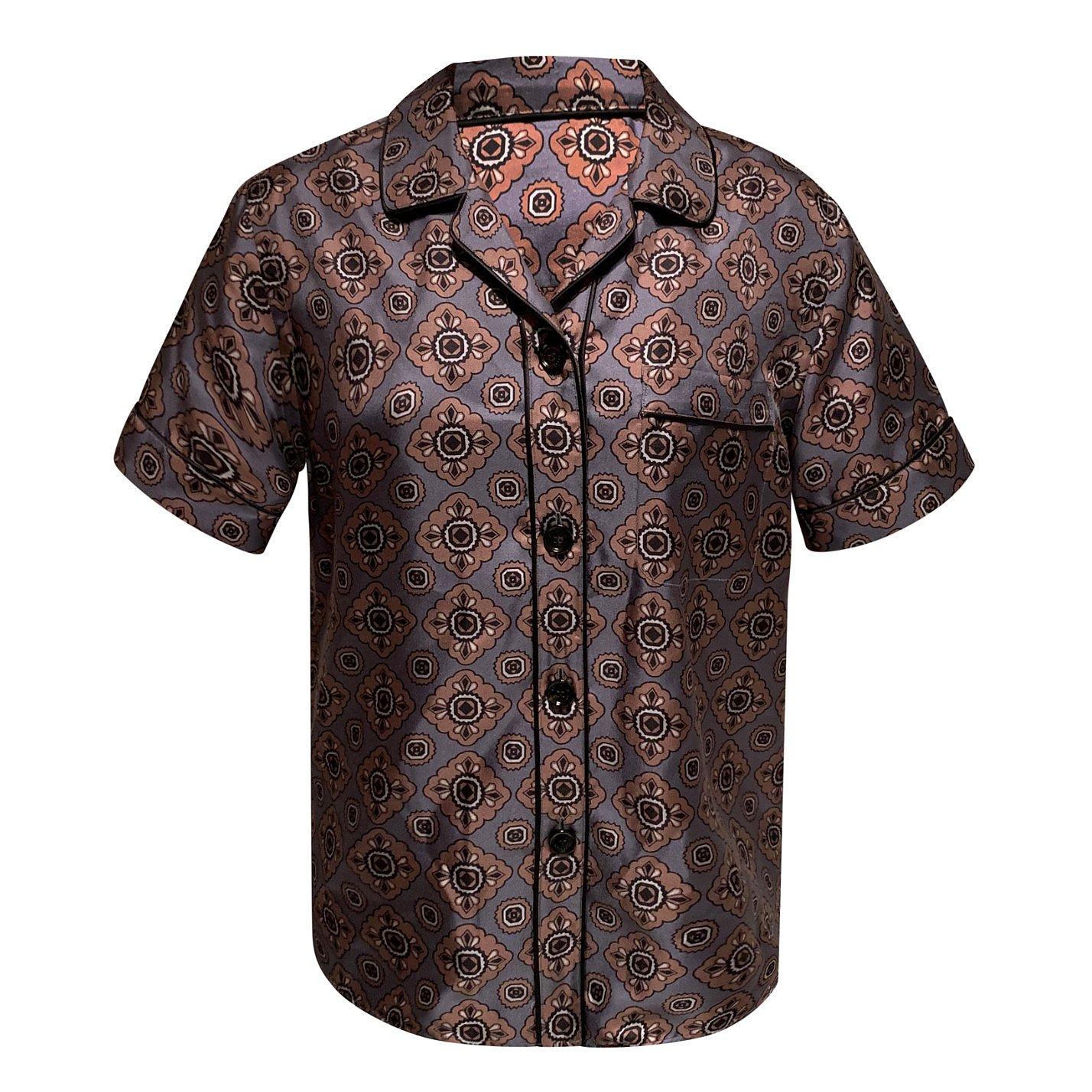 Burberry Printed Short Sleeve Silk Shirt