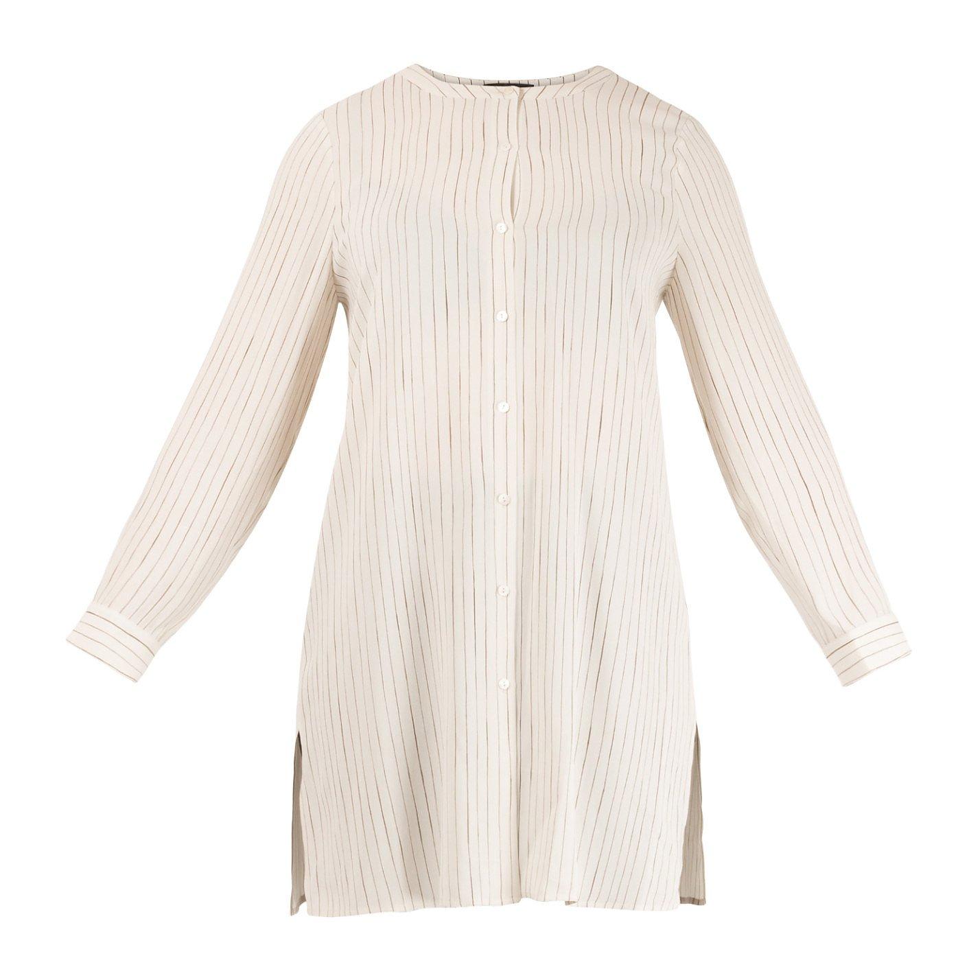 Eileen Fisher Pinstripe Silk Shirt