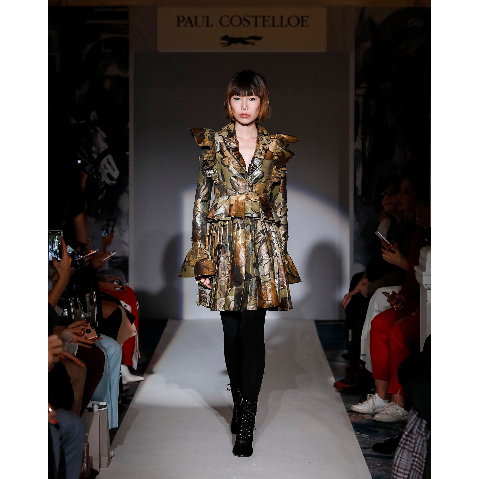 Paul Costelloe Pleated Floral Ruffle Dress