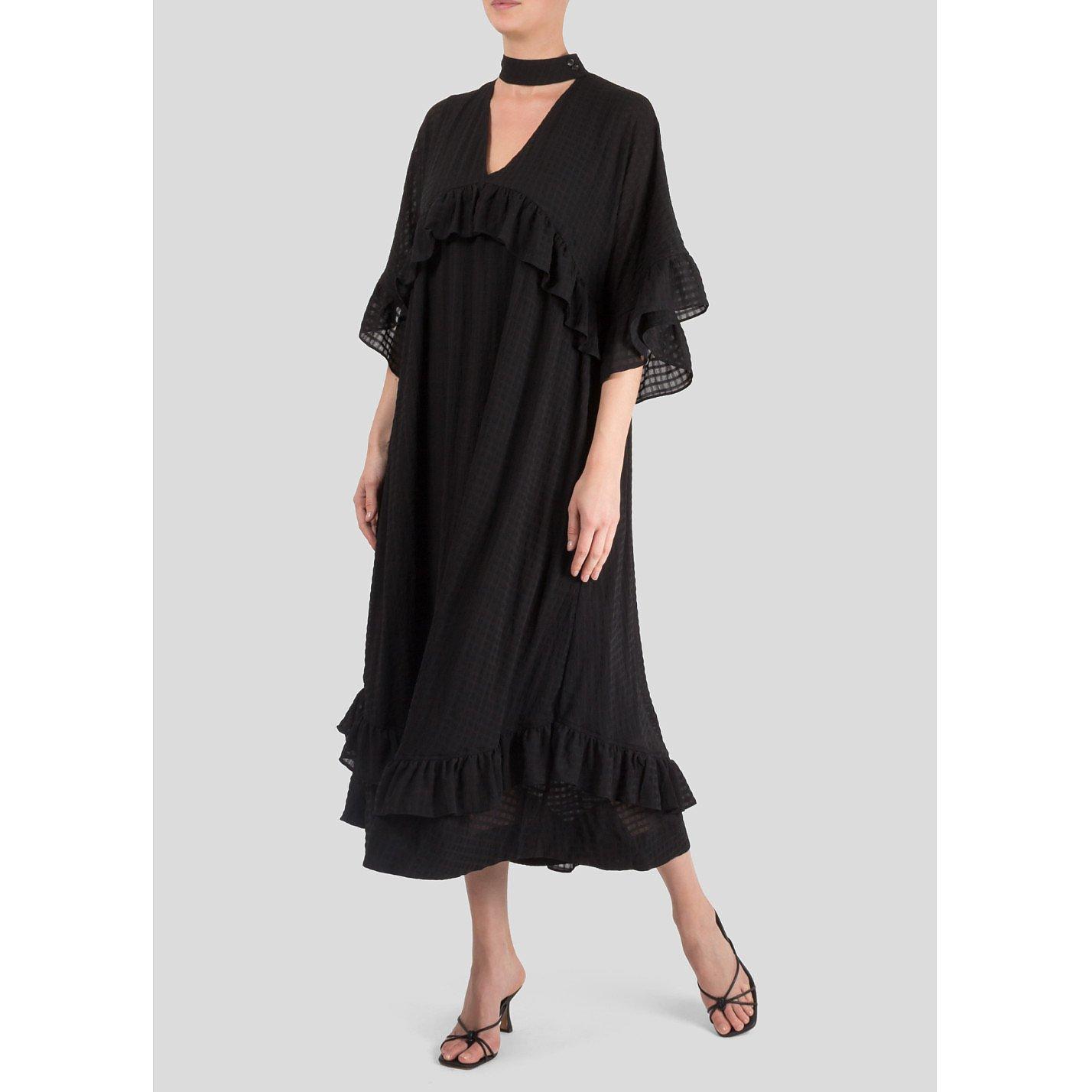 Ganni Ruffled Seersucker Midi Dress