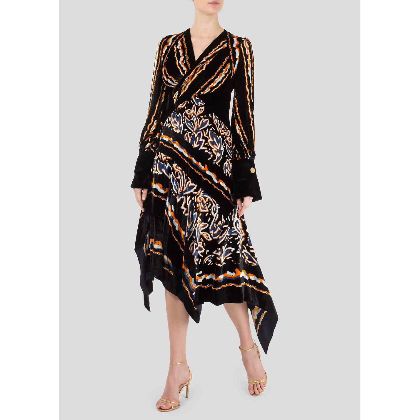 Peter Pilotto Wrap-Effect Printed Velvet Midi Dress