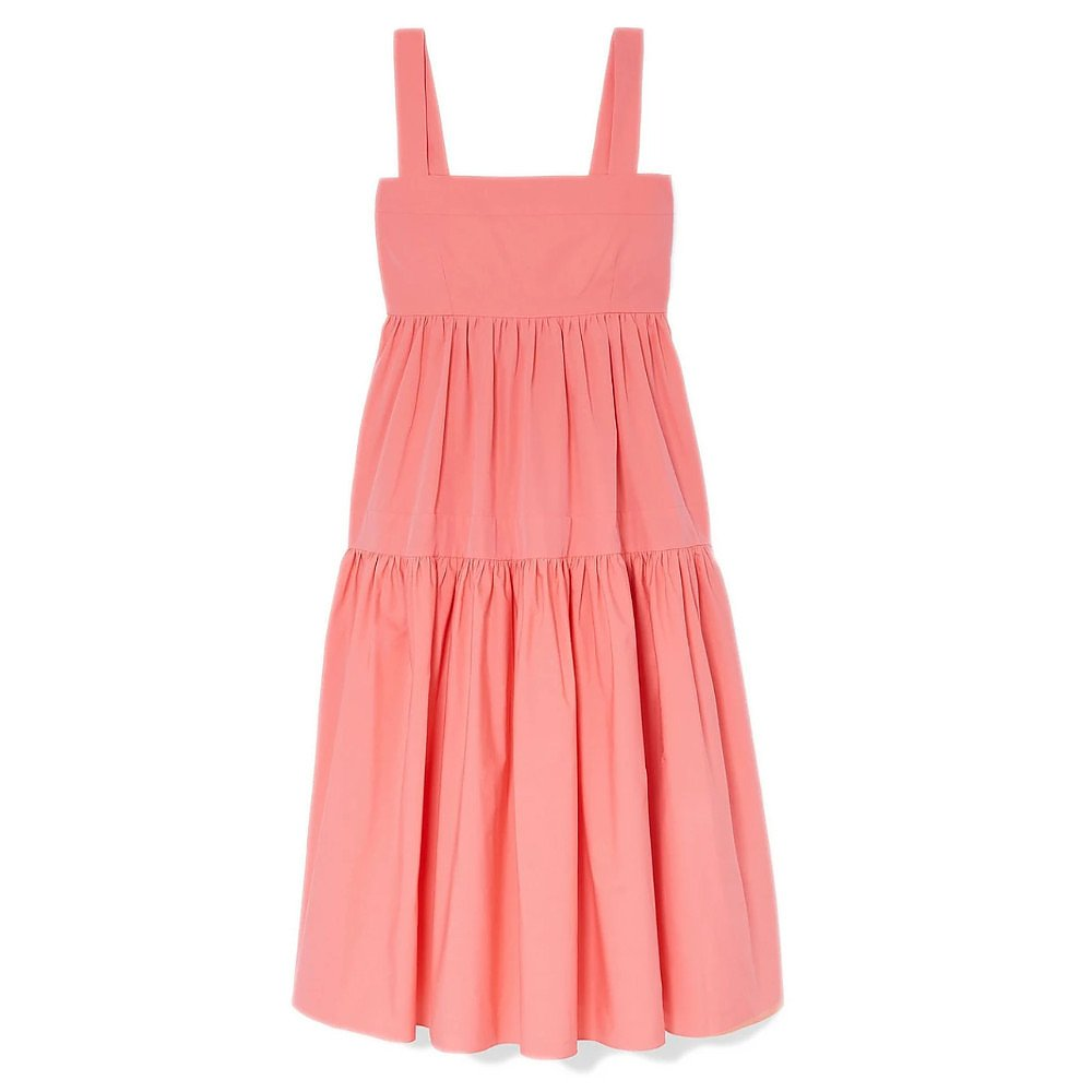 Three Graces London Cosette Tiered Cotton-Poplin Midi Dress
