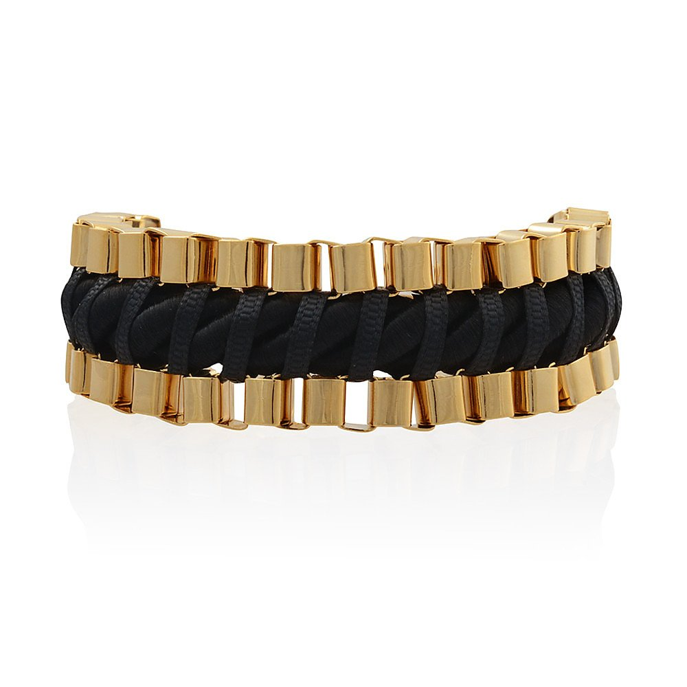 John & Pearl Double Chain Bracelet in Gold and Black