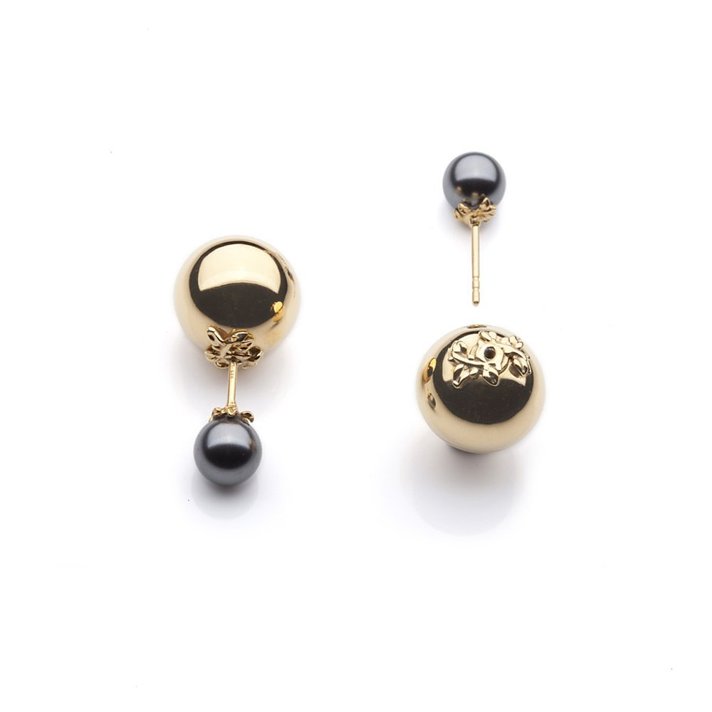 Kasun Gold Orb and Pearl Earrings