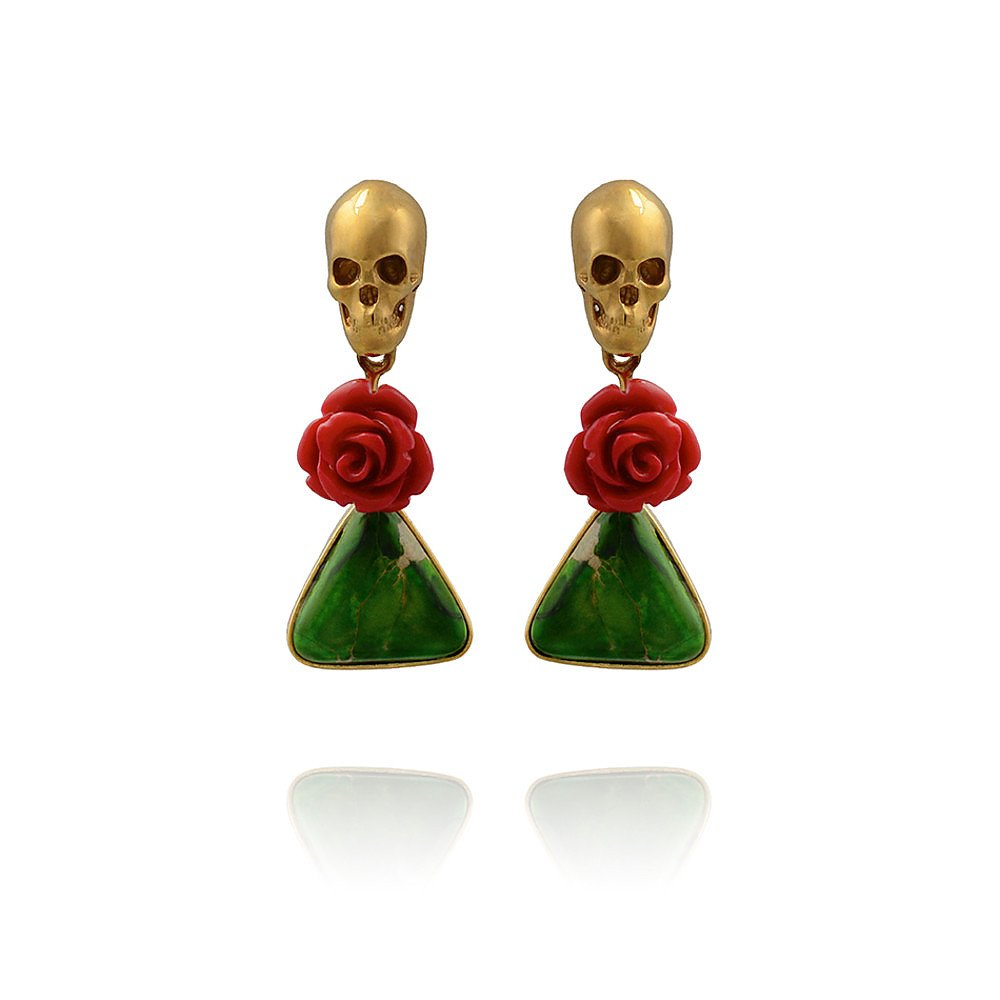 LeiVanKash Green Jasper and Coral Skull Earrings