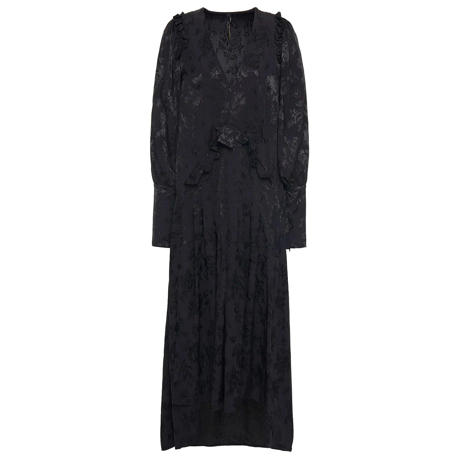Mother of Pearl Ruffled Satin-Jacquard Midi Dress