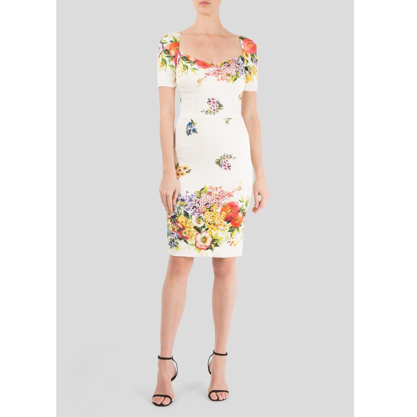DOLCE & GABBANA Floral-Print Silk Charmeuse Dress