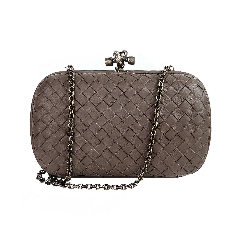 Bottega Veneta Chain Knot Leather Clutch