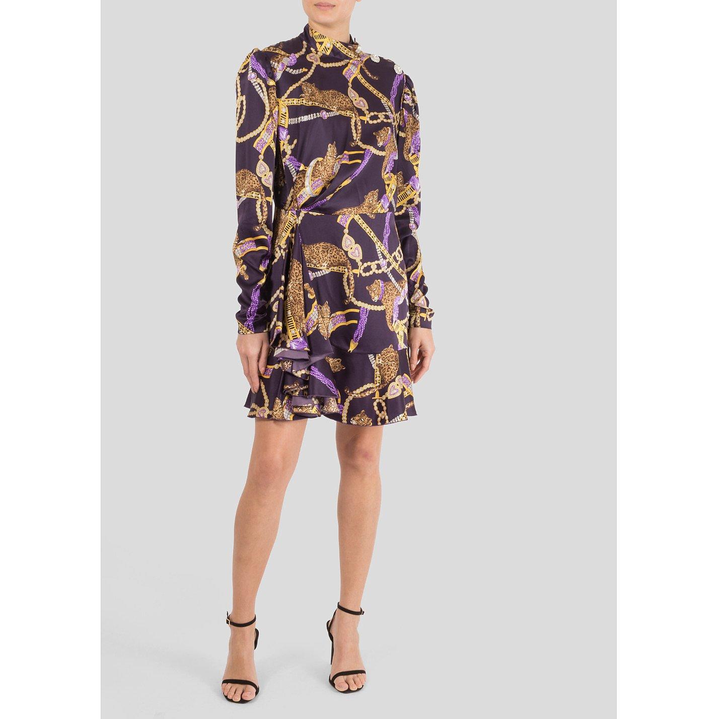 Alessandra Rich Printed Silk Mini Dress
