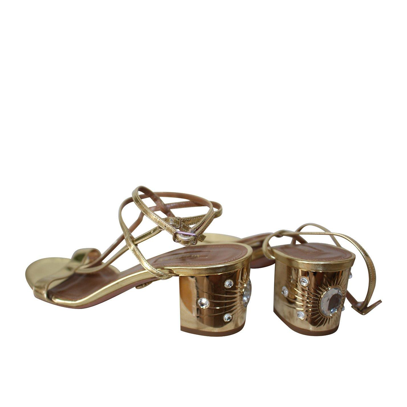 Aquazzura Metallic Heeled Sandals