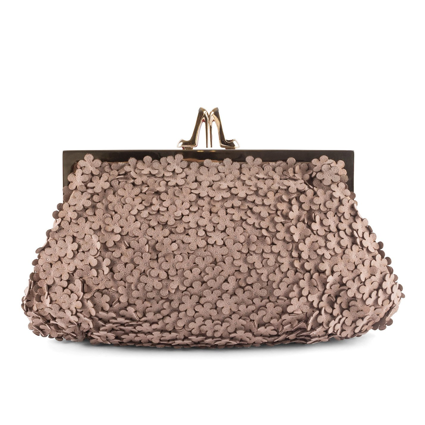 Christian Louboutin Suede Floral Clutch Bag