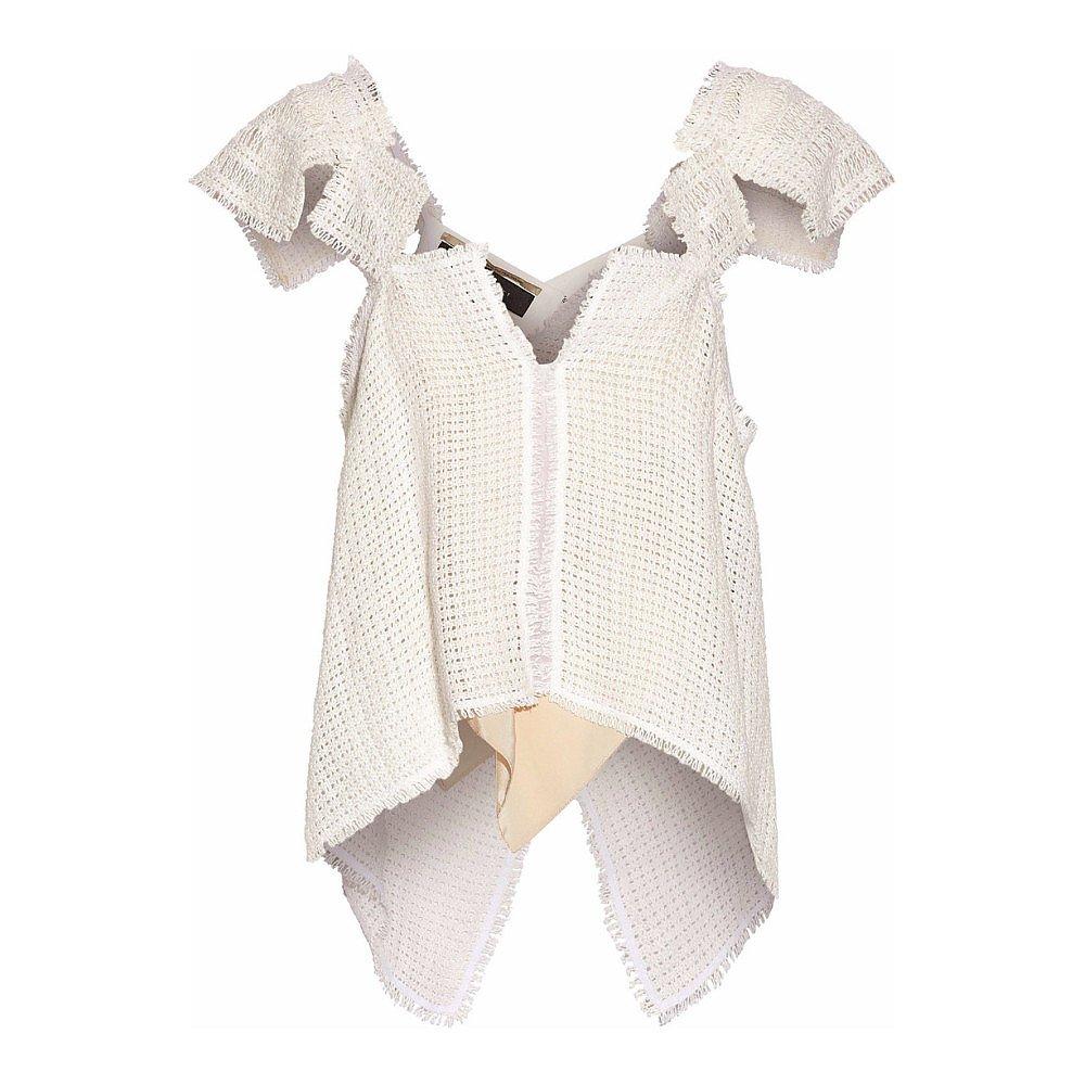 Roland Mouret Cutout Crocheted Linen Top
