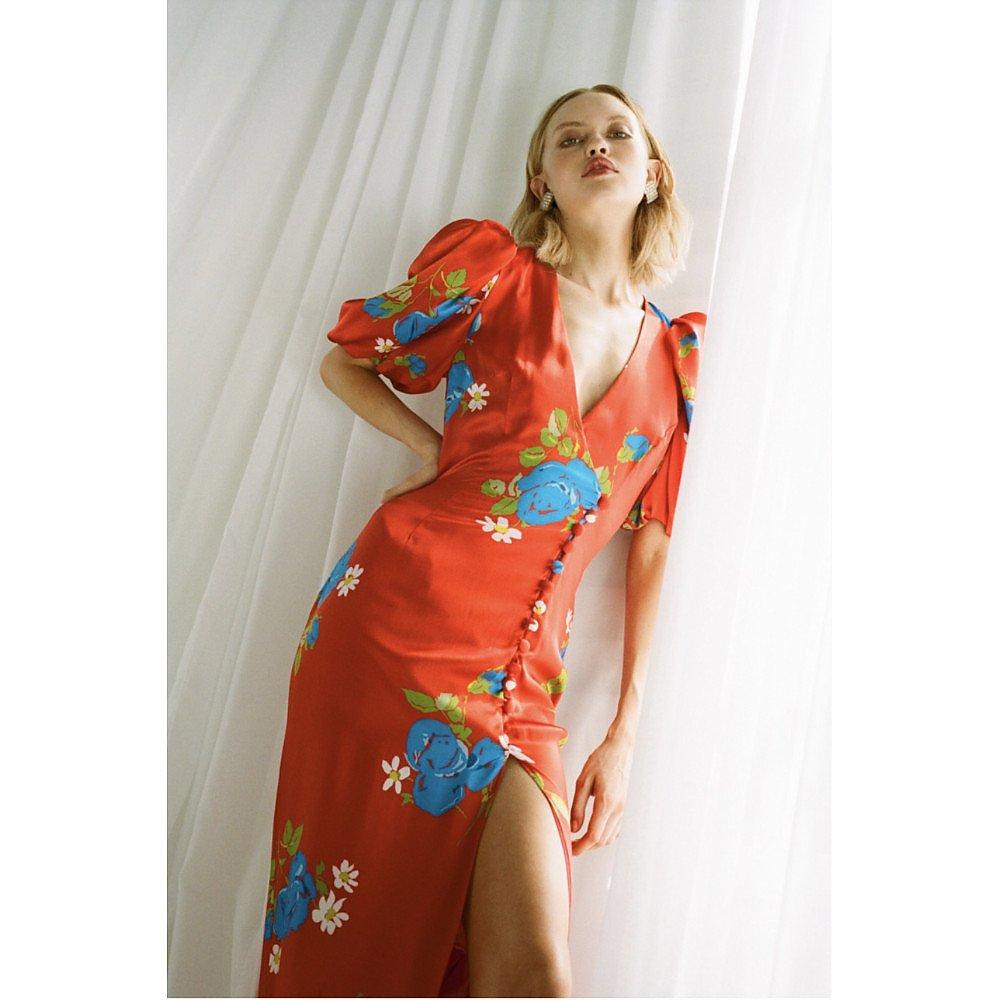 De La Vali Ohio Satin Floral Maxi Dress