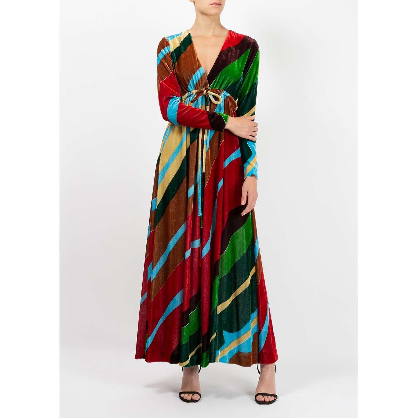 Dhela Printed Velvet Maxi Dress