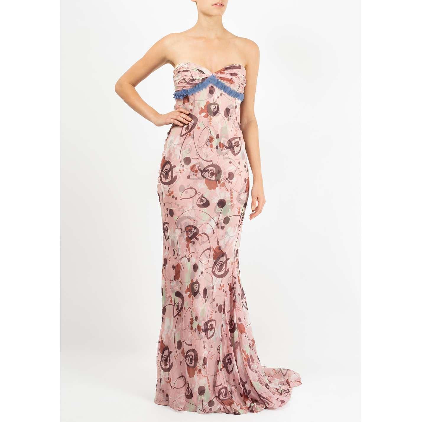 Vera Wang Patterned Strapless Dress