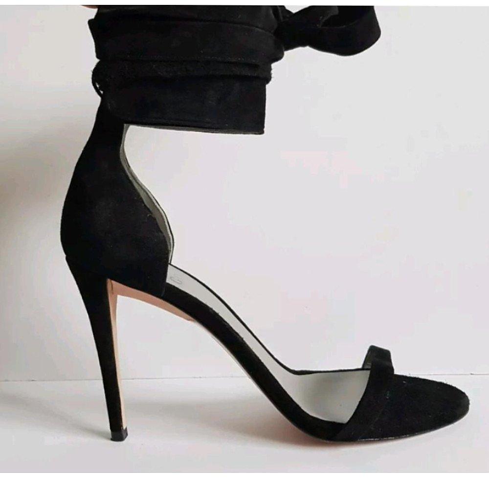 Gina Black Suede Ankle Tie Heels