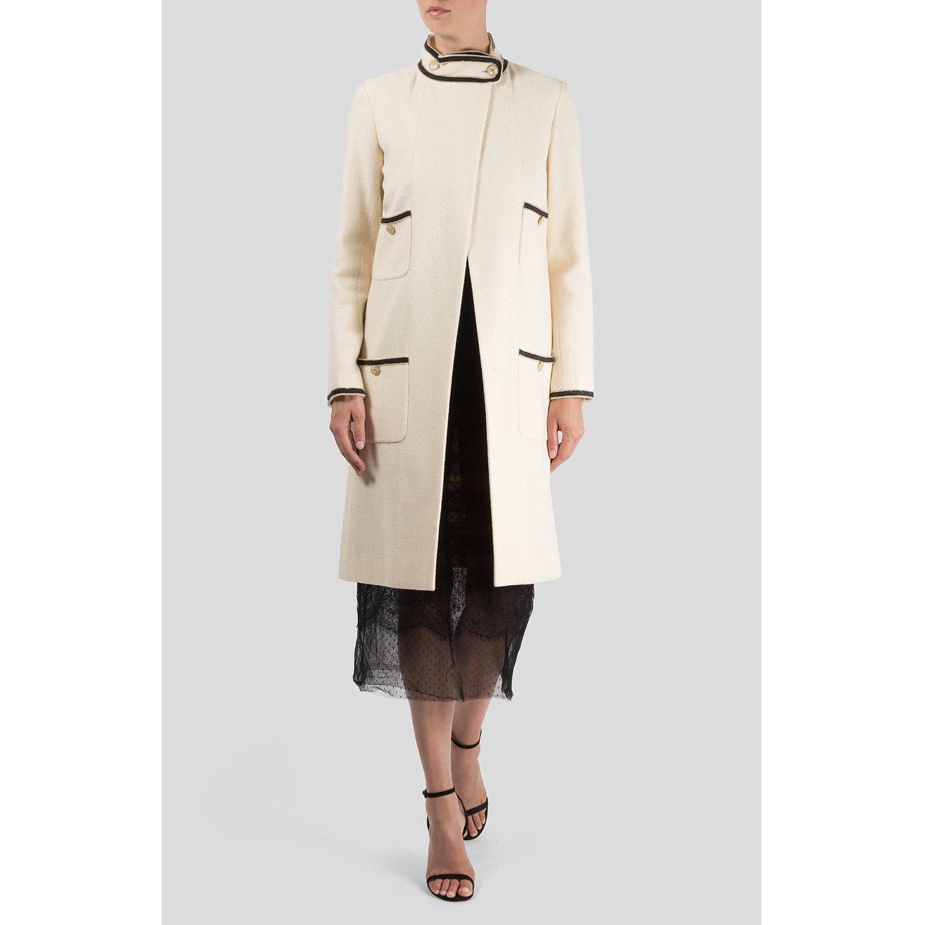 CHANEL High Neck Wool Coat