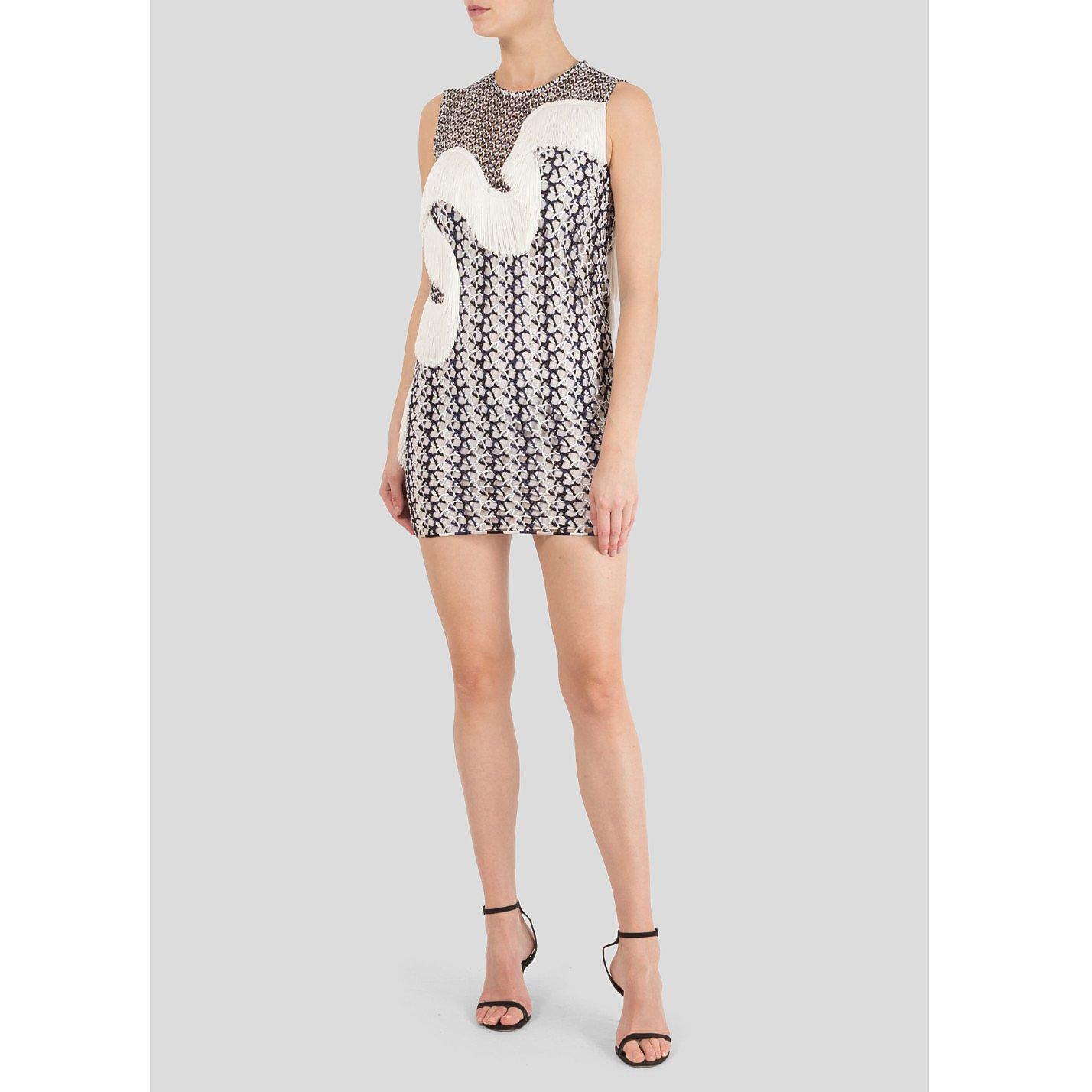 Stella McCartney Agatha Fringed Wicker Lace Mini Dress