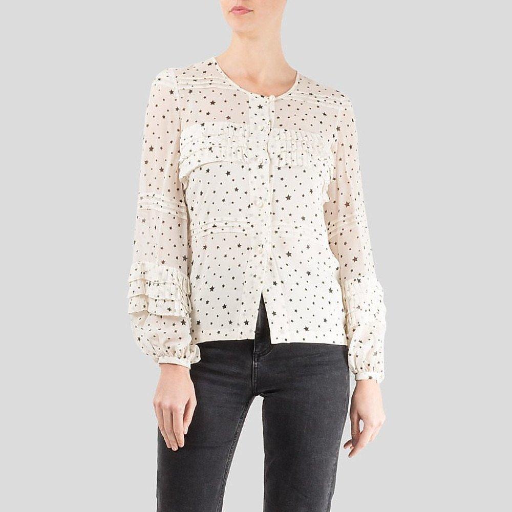 CHANEL Star Print Ruffle Shirt