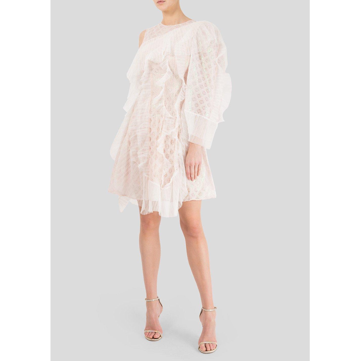 Bora Aksu One Shoulder Ruffle Mini Dress
