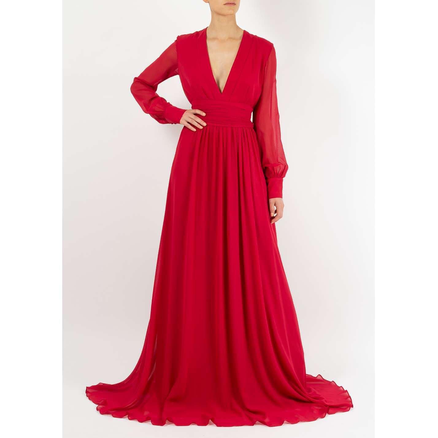 Dhela V-neck Silk Chiffon Gown