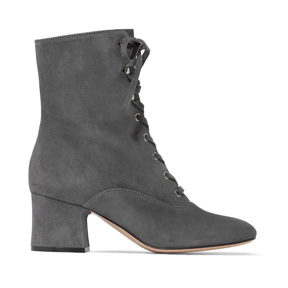 GIANVITO ROSSI 65 Lace-Up Suede Boots