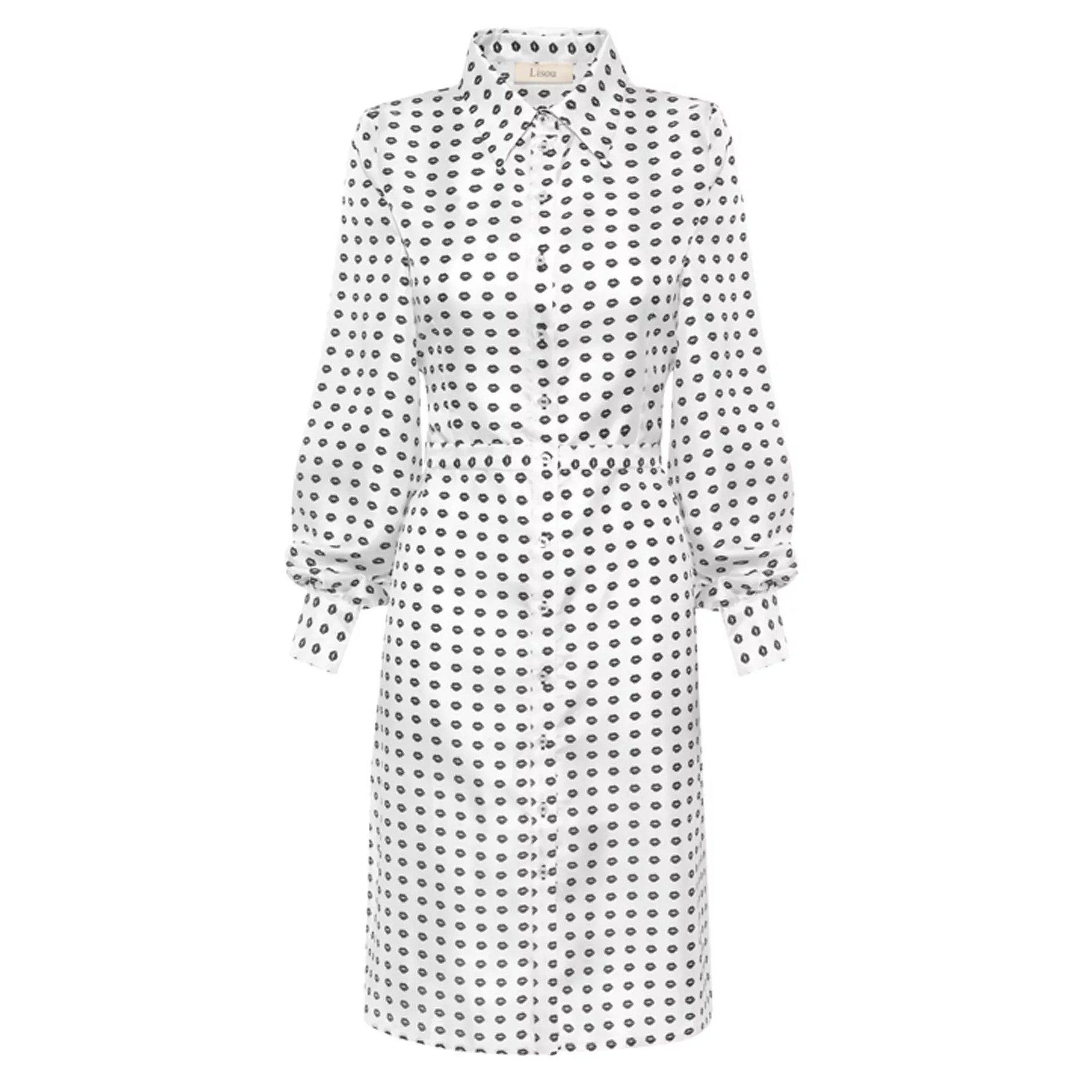 Lisou Isabelle Black Lip Print Silk Midi Dress