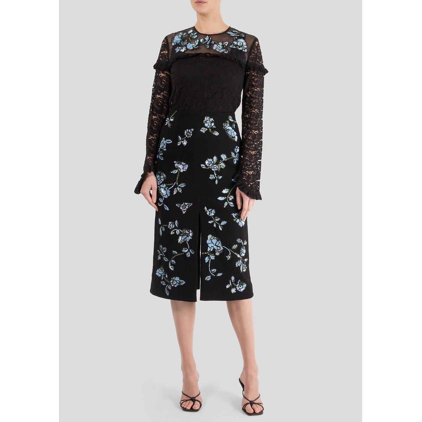Markus Lupfer Charlie Sequin Floral Skirt