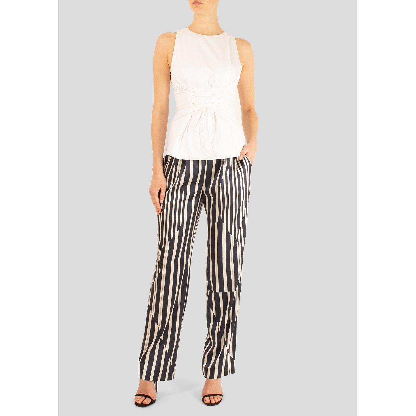 Thakoon Addition Asymmetrical Paneled Striped Trousers