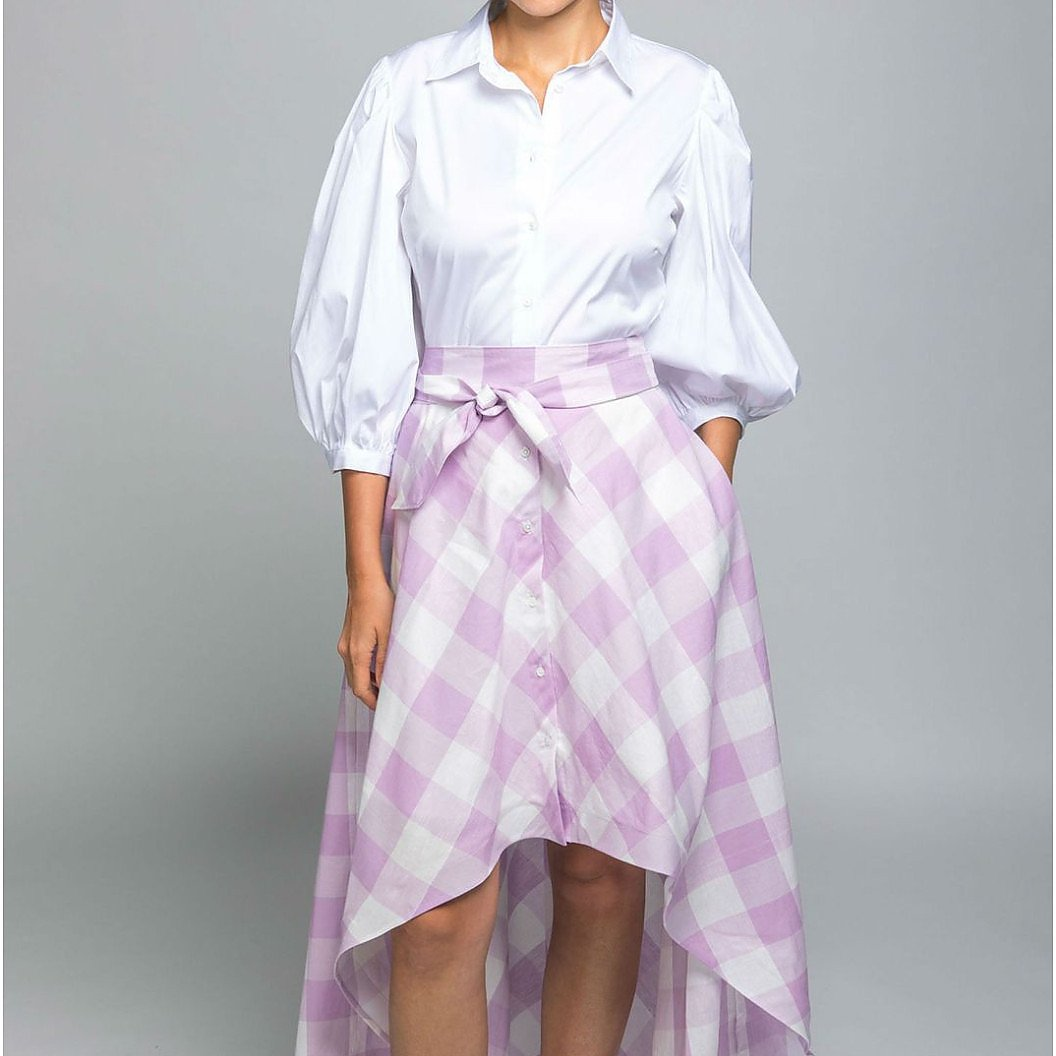 Sara Roka Unique Vance Gingham Shirt Dress