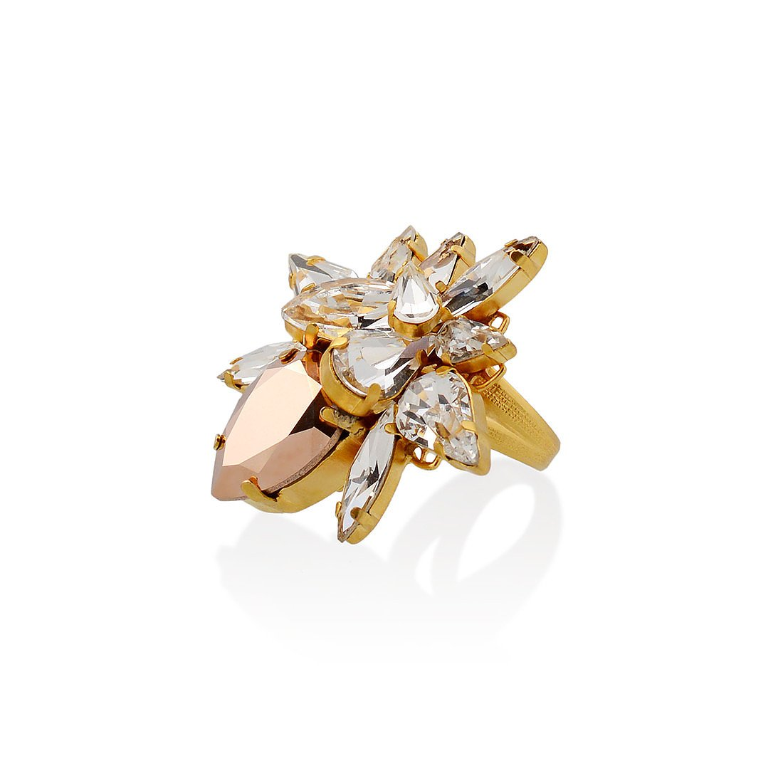 Halo & Co Rose Gold Cluster Crystal Ring