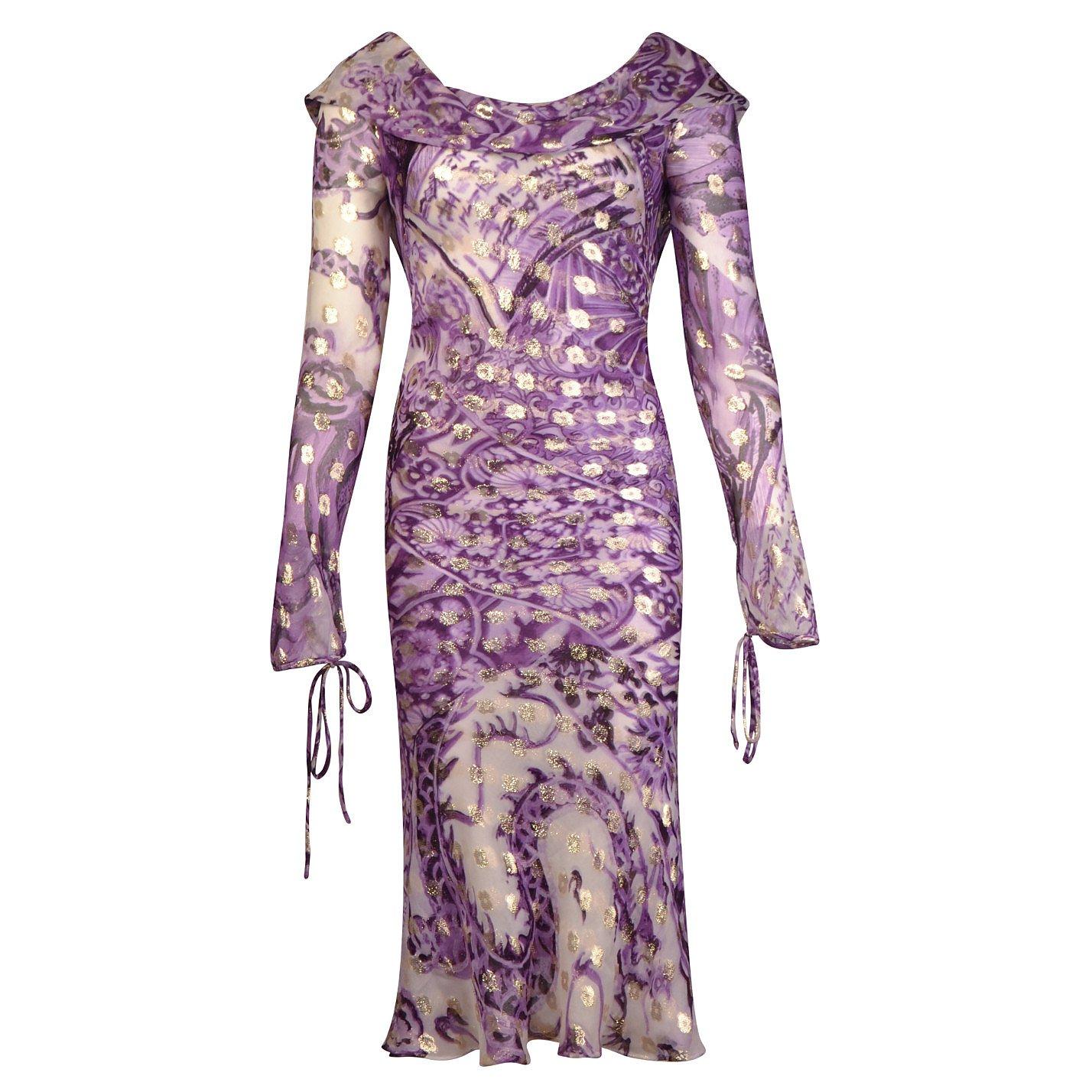 Roberto Cavalli Sheer Pattern-Print Draped Dress