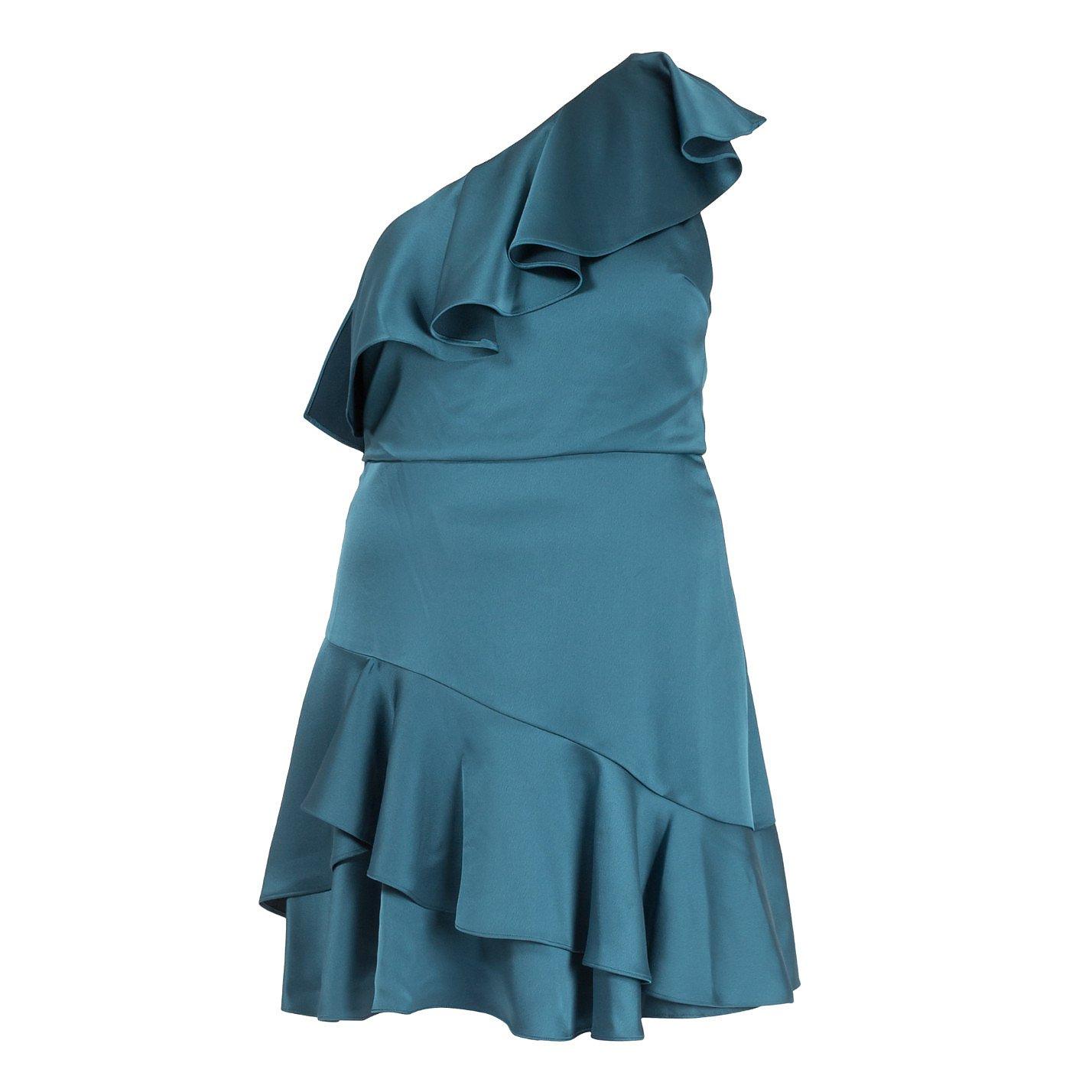 Halston Heritage One Shoulder Ruffle Mini Dress