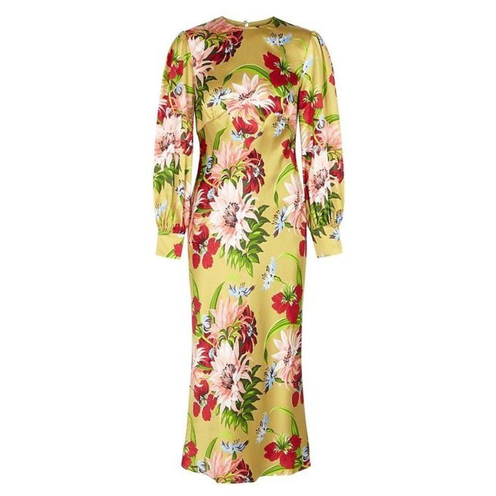 Olivia von Halle Aureta Havana Silk Midi Dress