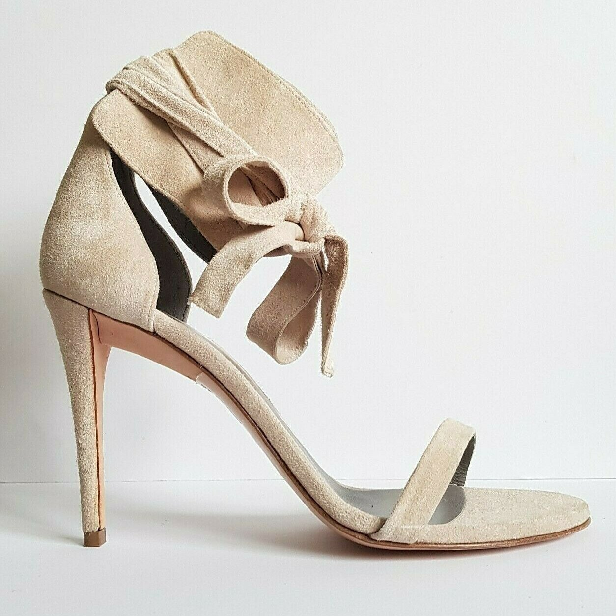 Gina Nude Suede Ankle Tie Heels