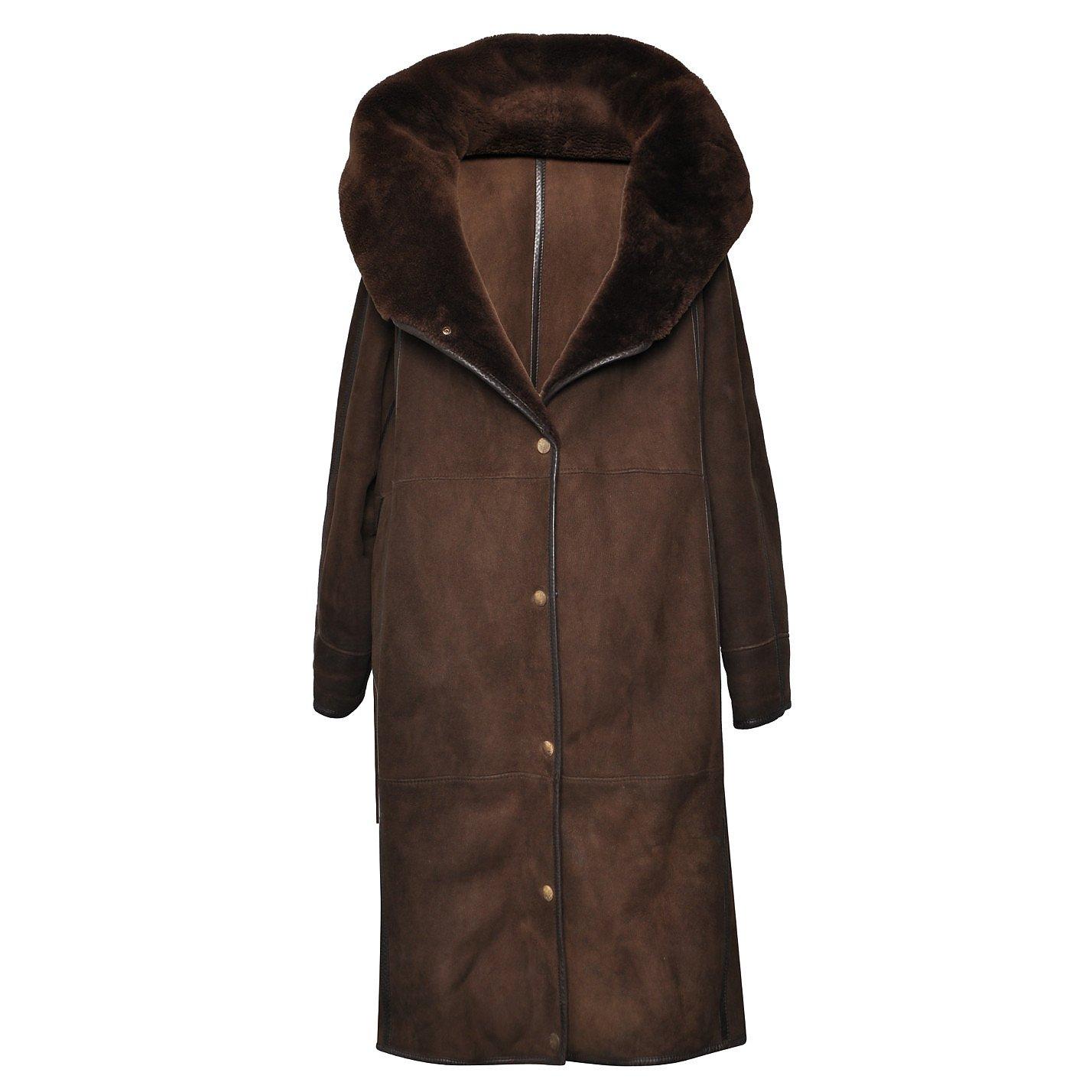 Anne-Marie Beretta Faux Fur-Trimmed Suede Coat